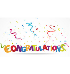 Congratulations with confetti vector image