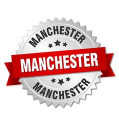Manchester round silver badge with red ribbon vector