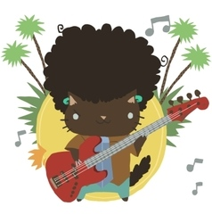 Cartoon casual little afro cat mascot with guitar vector