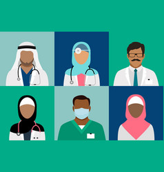 Arabian muslim medical staff avatars vector