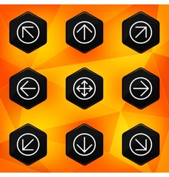 Arrow Hexagonal icons set on abstract orange vector image vector image