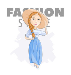 blonde in a hat on a white background vector image vector image