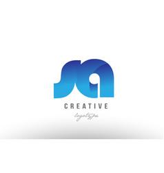 blue gradient sa s a alphabet letter logo vector image vector image