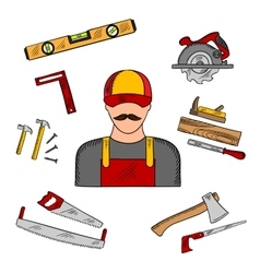 Carpenter profession and tools icons vector