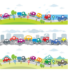 Cars on the road seamless horizontal pattern set vector