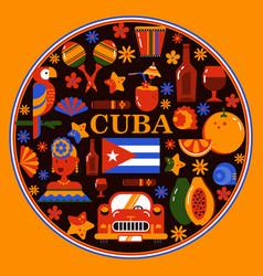 cuba havana round banner vector image