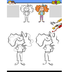 Drawing and coloring worksheet vector