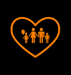 Family sign in heart shape orange vector