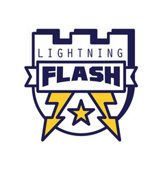 Flash lightning logo template badge with vector