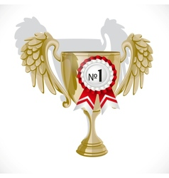 Goblet winner with rosette isolated on white vector image vector image