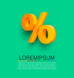 Golden percent sign on green background vector