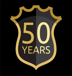 Golden shield 50 years vector