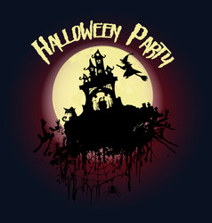 halloween party castle a witch on a broomstick vector image