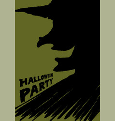 halloween party witch brush background vector image vector image