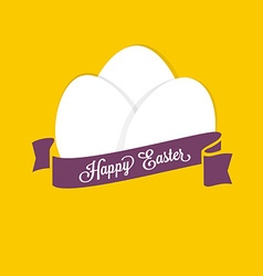 Happy Easter Set of white eggs with ribbon for vector image vector image