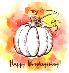 Happy Thanksgiving Day greeting card with pumpkin vector image
