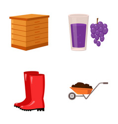 Hive grapes boots wheelbarrowfarm set vector