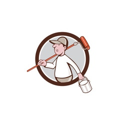 House Painter Paint Roller Can Circle Cartoon vector image