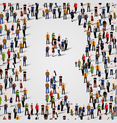 large group of people in letter r form vector image vector image