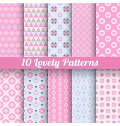 Lovely seamless patterns tiling with swatch vector