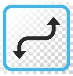 Opposite curved arrow icon in a frame vector