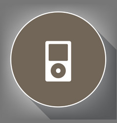 Portable music device white icon on brown vector