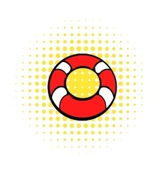 Red lifebuoy icon comics style vector