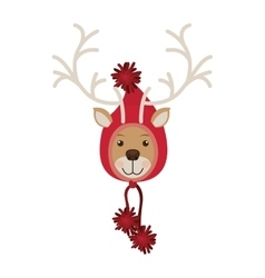 Reindeer head with christmas woolen hat shape hood vector