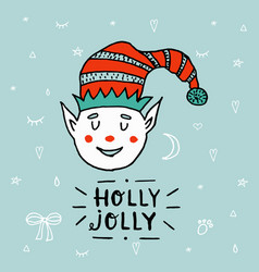 Santa claus kid cartoon elf helper working with vector