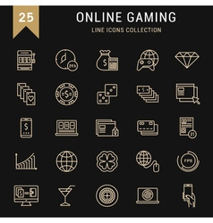 Set Flat Line Icons Online Gaming vector image