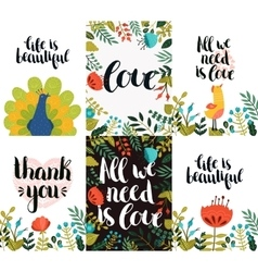 Set of inspirational and romantic cards vector image