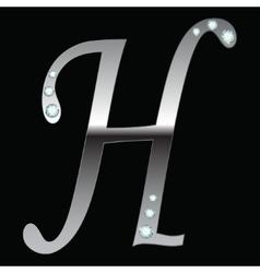 silver metallic letter H vector image