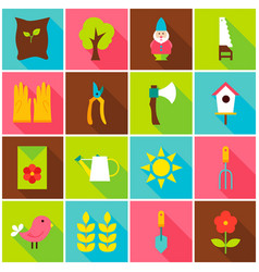 Spring garden colorful icons vector