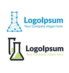 template logo chemical flask vector image vector image