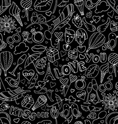 Valentine Day pattern Sketch style vector image vector image