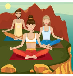 Yoga supporters practice on open air vector