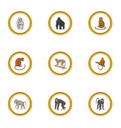 zoo monkey icons set cartoon style vector image vector image