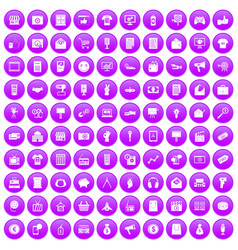 100 marketing icons set purple vector