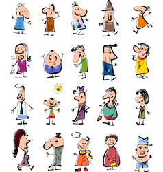 Doodle people cartoon set vector