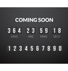 Coming Soon flip countdown timer panel vector image