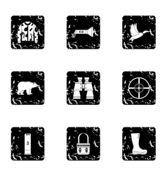 Shooting at animals icons set grunge style vector