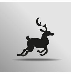 Black silhouette deer with great antler icon vector