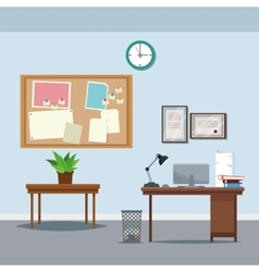 office workspace desk table potted plant clock vector image