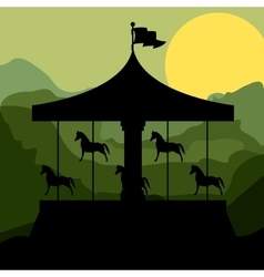 Sunset background merry go round with horses vector