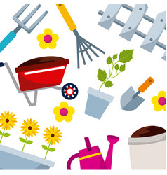 Background with gardening equipment icons vector
