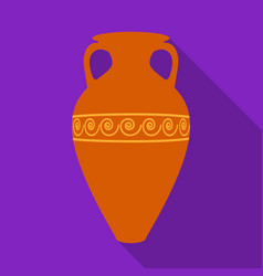 Greece amphora icon in flat style isolated on vector