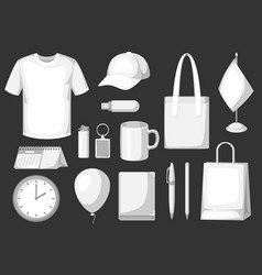 Set of promotional gifts and advertising souvenirs vector