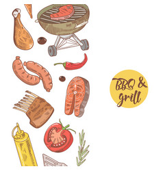bbq and grill hand drawn design with meat vector image