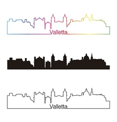 Valletta skyline linear style with rainbow vector