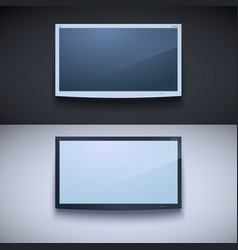 Led tv hanging on the wall vector